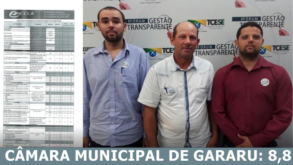 Câmara Municipal de Gararu fica em terceiro lugar no Estado de Sergipe no Ranking da Transparência