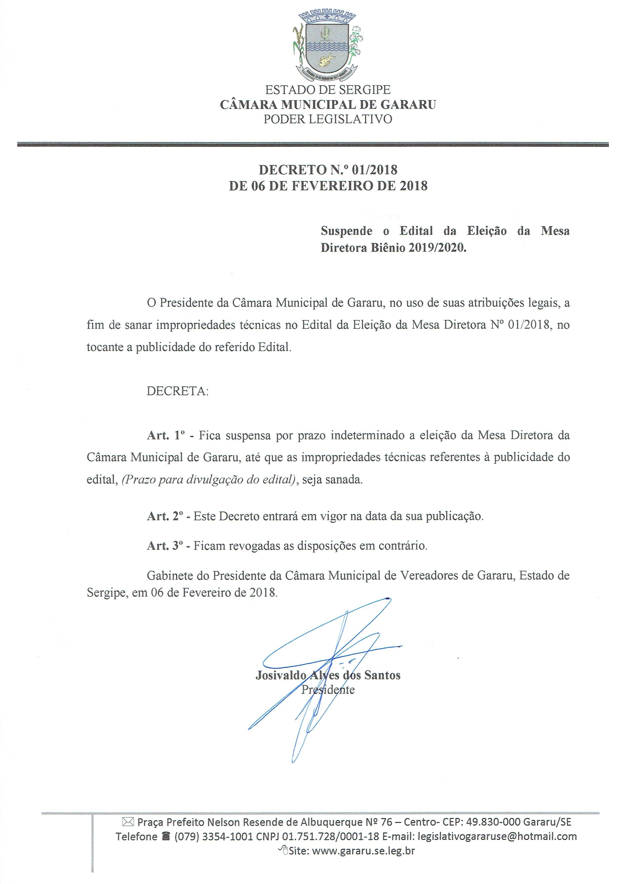Suspenso Edital da Eleição da Mesa Diretora da Câmara Municipal de Gararu